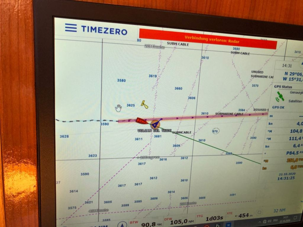 a big ship passing in front of us looks on the chart like this (we are the red boat and the triangle is the big vessel)...