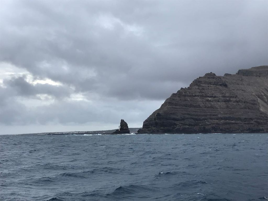the peak of Lanzarote with the navigation light