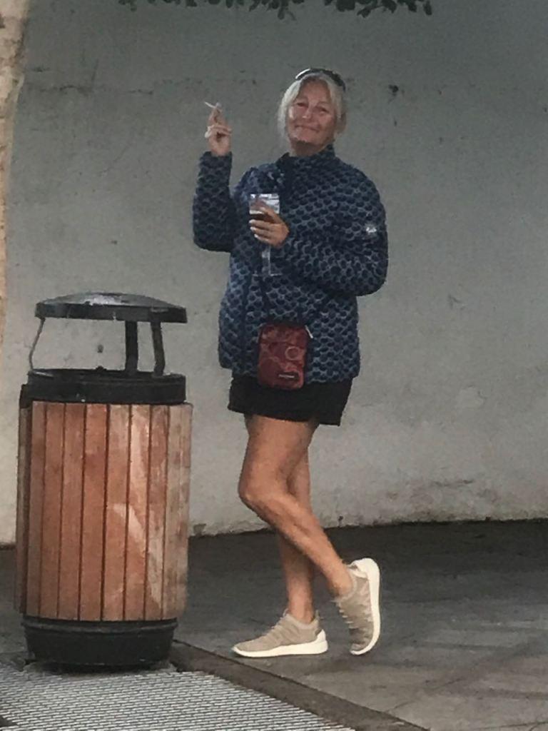 our break in Harí; Paulyne having a double break smoke and beer